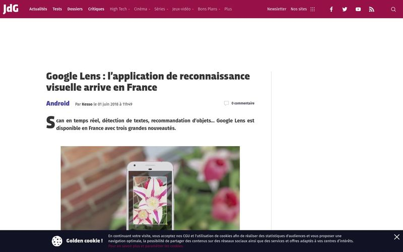 Google Lens : l'application de reconnaissance visuelle arrive en France (Journal du Geek)