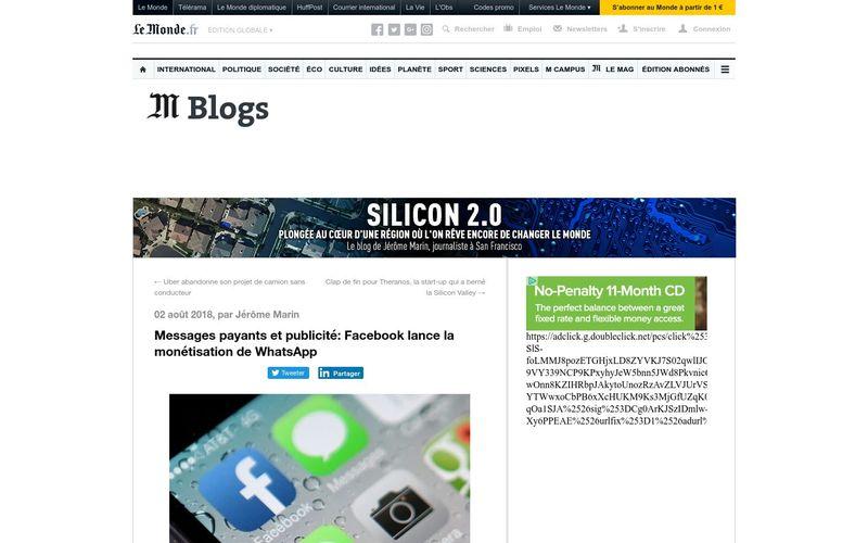 Silicon 2.0 : Messages payants et publicité, Facebook lance la monétisation de WhatsApp