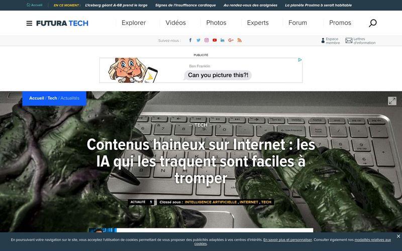 Futura Sciences : Contenus haineux sur Internet, les IA qui les traquent sont faciles à tromper