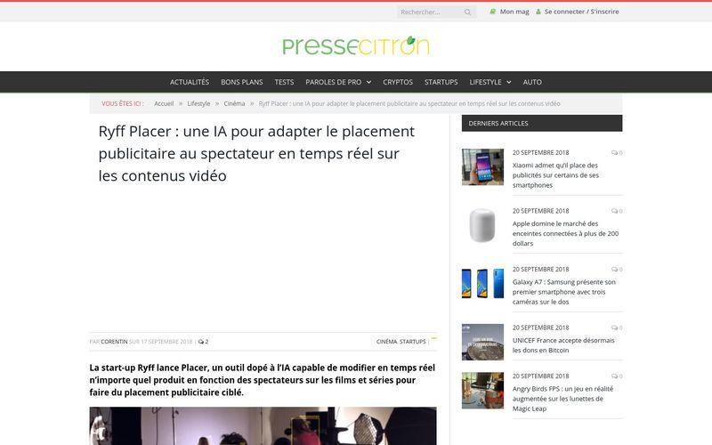 Presse citron : une IA pour adapter le placement publicitaire au spectateur en temps réel sur les contenus vidéo